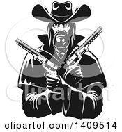 Clipart Of A Black And White Tough Western Cowboy Holding Pistols In His Crossed Arms Royalty Free Vector Illustration