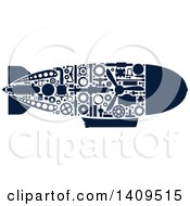 Clipart Of A Navy Blue Silhouetted Submarine With Visible Mechanical Parts Royalty Free Vector Illustration