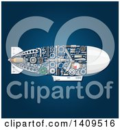 Clipart Of A Submarine With Visible Mechanical Parts On Blue Royalty Free Vector Illustration