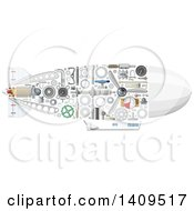 Clipart Of A Submarine With Visible Mechanical Parts Royalty Free Vector Illustration