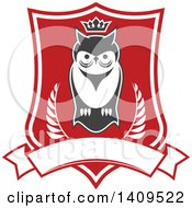 Red And White Shield With A Crowned Owl