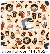 Clipart Of A Seamless Background Pattern Of Coffee Pots Beans Cups And Makers Royalty Free Vector Illustration