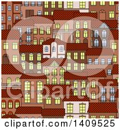 Clipart Of A Seamless Background Pattern Of Town Houses Royalty Free Vector Illustration