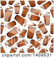 Clipart Of A Seamless Background Pattern Of Hot Coffees Royalty Free Vector Illustration