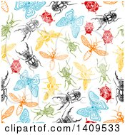 Clipart Of A Seamless Background Pattern Of Insects Royalty Free Vector Illustration by Seamartini Graphics