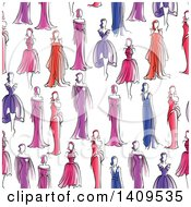 Clipart Of A Seamless Background Pattern Of Models In Dresses Royalty Free Vector Illustration by Vector Tradition SM