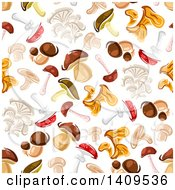 Clipart Of A Seamless Background Pattern Of Mushrooms Royalty Free Vector Illustration by Vector Tradition SM