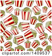 Clipart Of A Seamless Background Pattern Of Popcorn Buckets Royalty Free Vector Illustration by Vector Tradition SM