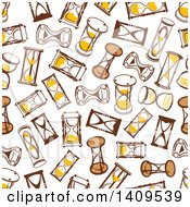 Clipart Of A Seamless Background Pattern Of Hourglasses Royalty Free Vector Illustration by Vector Tradition SM