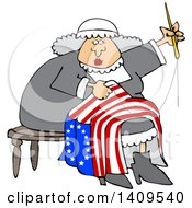 Cartoon Woman Betsy Ross Sewing A Flag