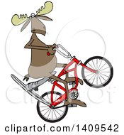 Clipart Of A Cartoon Moose Popping A Wheelie On A Stingray Bicycle Royalty Free Vector Illustration