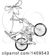 Clipart Of A Cartoon Black And White Lineart Moose Popping A Wheelie On A Stingray Bicycle Royalty Free Vector Illustration