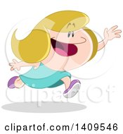 Clipart Of A Cartoon Little Caucasian Girl Running To Catch Someone Or Something Royalty Free Vector Illustration