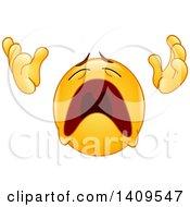 Clipart Of A Cartoon Praying And Wailing Emoji Emoticon Smiley Royalty Free Vector Illustration