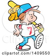 Clipart Of A Cartoon Happy Caucasian Boy Walking With A Baseball Bat And Glove Over His Shoulder Royalty Free Vector Illustration
