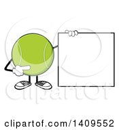 Clipart Of A Cartoon Tennis Ball Character Mascot Pointing To A Blank Sign Royalty Free Vector Illustration