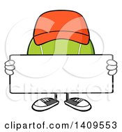 Clipart Of A Cartoon Tennis Ball Character Mascot Wearing A Hat And Holding A Blank Sign Royalty Free Vector Illustration