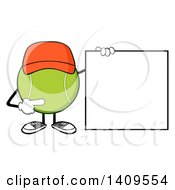 Clipart Of A Cartoon Tennis Ball Character Mascot Wearing A Hat And Pointing To A Blank Sign Royalty Free Vector Illustration