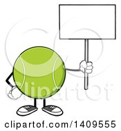 Clipart Of A Cartoon Tennis Ball Character Mascot Holding Up A Blank Sign Royalty Free Vector Illustration