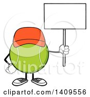 Clipart Of A Cartoon Tennis Ball Character Mascot Wearing A Hat And Holding Up A Blank Sign Royalty Free Vector Illustration