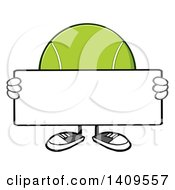 Clipart Of A Cartoon Tennis Ball Character Mascot Holding A Blank Sign Royalty Free Vector Illustration