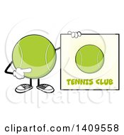 Clipart Of A Cartoon Tennis Ball Character Mascot Pointing To A Sign Royalty Free Vector Illustration