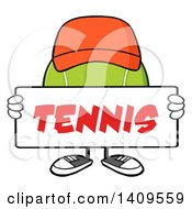 Clipart Of A Cartoon Tennis Ball Character Mascot Wearing A Hat And Holding A Sign Royalty Free Vector Illustration