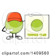 Clipart Of A Cartoon Tennis Ball Character Mascot Wearing A Hat And Pointing To A Sign Royalty Free Vector Illustration