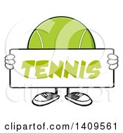 Clipart Of A Cartoon Tennis Ball Character Mascot Holding A Sign Royalty Free Vector Illustration