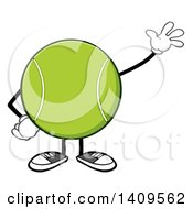 Clipart Of A Cartoon Tennis Ball Character Mascot Waving Royalty Free Vector Illustration by Hit Toon