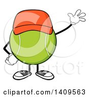 Clipart Of A Cartoon Tennis Ball Character Mascot Wearing A Hat And Waving Royalty Free Vector Illustration by Hit Toon