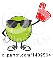 Clipart Of A Cartoon Tennis Ball Character Mascot Wearing Sunglasses And A Foam Finger Royalty Free Vector Illustration