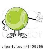Clipart Of A Cartoon Tennis Ball Character Mascot Giving A Thumb Up Royalty Free Vector Illustration