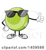 Clipart Of A Cartoon Tennis Ball Character Mascot Wearing Sunglasses And Giving A Thumb Up Royalty Free Vector Illustration