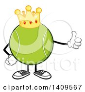 Clipart Of A Cartoon Tennis Ball Character Mascot Wearing A Crown And Giving A Thumb Up Royalty Free Vector Illustration