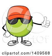 Clipart Of A Cartoon Tennis Ball Character Mascot Wearing A Hat And Sunglasses And Giving A Thumb Up Royalty Free Vector Illustration