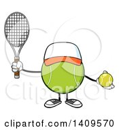 Clipart Of A Cartoon Tennis Ball Character Mascot Wearing A Hat Royalty Free Vector Illustration by Hit Toon