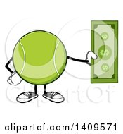 Clipart Of A Cartoon Tennis Ball Character Mascot Holding Cash Royalty Free Vector Illustration
