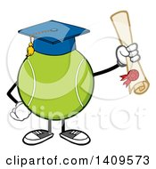Clipart Of A Cartoon Tennis Ball Character Mascot Graduate Royalty Free Vector Illustration by Hit Toon