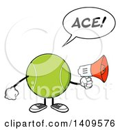 Clipart Of A Cartoon Tennis Ball Character Mascot Using A Megaphone And Saying Ace Royalty Free Vector Illustration