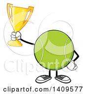 Clipart Of A Cartoon Tennis Ball Character Mascot Holding A Trophy Royalty Free Vector Illustration by Hit Toon