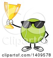 Clipart Of A Cartoon Tennis Ball Character Mascot Wearing Sunglasses And Holding A Trophy Royalty Free Vector Illustration by Hit Toon