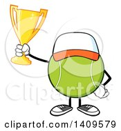 Clipart Of A Cartoon Tennis Ball Character Mascot Wearing A Hat And Holding A Trophy Royalty Free Vector Illustration by Hit Toon