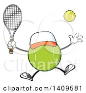 Clipart Of A Cartoon Tennis Ball Character Mascot Jumping Royalty Free Vector Illustration by Hit Toon