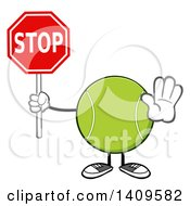 Clipart Of A Cartoon Tennis Ball Character Mascot Holding A Stop Sign Royalty Free Vector Illustration