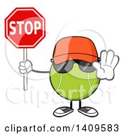 Clipart Of A Cartoon Tennis Ball Character Mascot Wearing A Hat And Sunglasses Holding A Stop Sign Royalty Free Vector Illustration