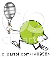 Clipart Of A Cartoon Tennis Ball Character Mascot Running Royalty Free Vector Illustration by Hit Toon