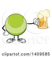Clipart Of A Cartoon Tennis Ball Character Mascot Holding A Beer Royalty Free Vector Illustration by Hit Toon