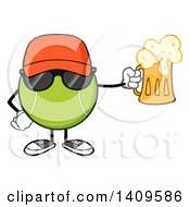 Clipart Of A Cartoon Tennis Ball Character Mascot Wearing Sunglasses And Holding A Beer Royalty Free Vector Illustration by Hit Toon