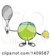 Clipart Of A Cartoon Tennis Ball Character Mascot Royalty Free Vector Illustration by Hit Toon